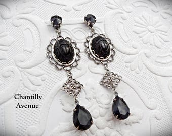 Black and Silver Art Deco Victorian Earrings, Long Dangle Earrings, Victorian Jewelry, Egyptian Revival Jewelry