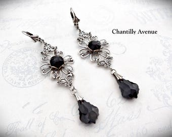 Gothic Bride Jet Crystal Earrings, Gothic Jewelry, Victorian Jewelry