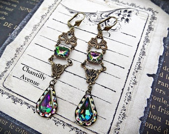 Rainbow Art Nouveau Earrings, Rhinestone Earrings, Long Dangle Earrings, Vitrail Jewel Victorian Earrings, Victorian Jewelry