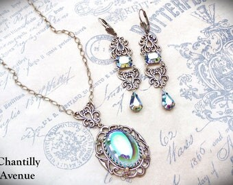 Aqua Crystal Victorian Necklace and Earrings,  Art Nouveau Victorian Necklace, Victorian Jewelry Set, Art Nouveau Jewelry