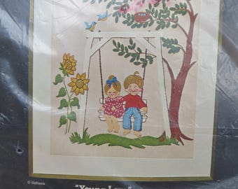 """Creative Needlecraft Vintage Crewel Needlework Kit Young Love Picture or Wall Panel Cut Size 20"""" x 24"""" Couple Swinging in Tree Swing"""