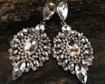 Long Bridal Earrings Rhinestone Chandelier style sparkling crystal teardrop perfect wedding earrings prom bridesmaids or mother of the bride
