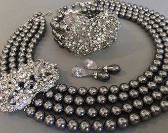 Ready to Ship! Complete Grey Jewelry Set Pearl Necklace Bracelet and Earrings 4 multi strands Swarovski Pearls Art Deco Rhinestone Dark Gray