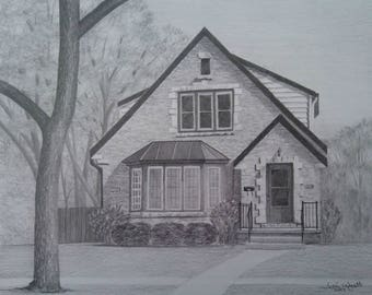 Custom Home Drawing From Photo - 11x14 House Pencil Sketch Art Landscape Drawing From Picture