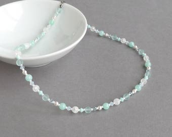 Mint Green Gemstone and Pearl Necklace - Aqua and White Wedding Jewellery - Mother of the Bride / Groom - Duck Egg Blue Necklaces