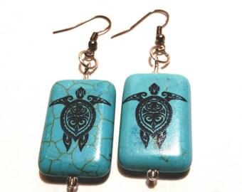 Turtle Earrings Turquoise Large Stone Honu Jewelry Hawaiian Sea Turtles Gift Ideas