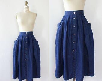 Vintage Denim Skirt XS/S • Button Up Skirt with Pockets • Pleated Midi Skirt • Vintage Midi Skirt • 80s Skirt • High Waisted Skirt | SK842