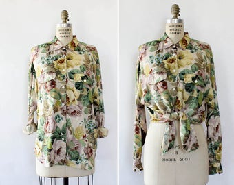 90s Blouse • Floral Button Up Shirt • Tie Up Blouse • Slouchy Top • Floral Blouse • Vintage Blouse • 90s Top • Button Up Top | T884