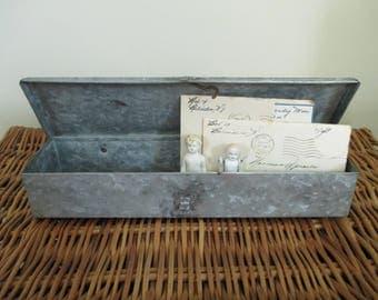 Vintage Galvanized Metal Box - Long Metal Box - Studio Decor - Studio Storage - Craft Room Storage