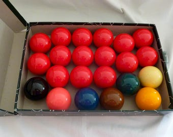 "Vintage Aramith 2 1/4"" Snooker Balls - Complete Set of 22 Balls - Made in Belgium"