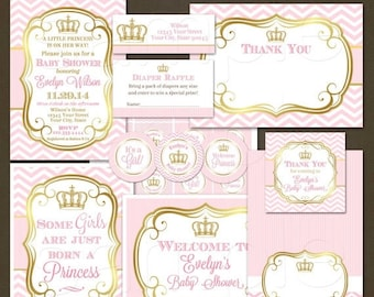 ON SALE Princess Baby Shower Party Package, Printable File, Girl  Baby Shower, Pink Chevron, Pink and Gold, Elegant Baby Shower, Crown Invit