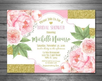 ON SALE Flowers Bridal Shower Invitation Printable File, Gold Glitter Bridal Shower Invitation, Peony Invitation, Floral Bridal Shower