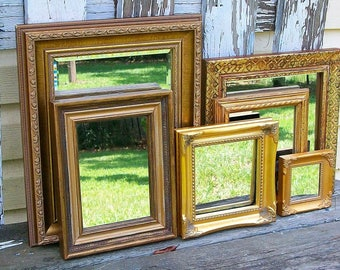 6 Ornate Shades of Gold Wall Mirrors Shabby Chic Home Decor