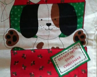 The Christmas Puppy Fabric Panel to Sew, Puppy Dog in Gift Box X0986