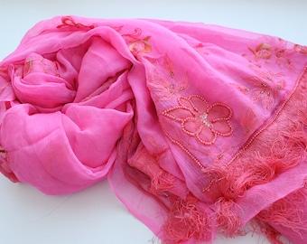 Indian vintage pink chiffon silk long dupatta scarf with fringes.  SCM013