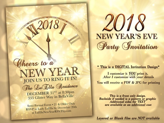New years eve party invitation gold sparkle clock invitation like this item stopboris Image collections