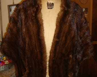 Vintage 60's Dark Brown Mink Fur Stole Cape Joseph Horne Co.