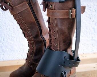 Unisex Leather High Boot Caliper - Black - steampunk - burning man - festivals - apocalypse - mad max, Please read Description for size