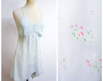 1940s Pastel blue floral silk feel camiknickers / 40s baby blue pink rayon crepe teddy slip