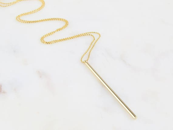 Vertical Bar Necklace | Gold Bar Necklace | Long Gold Layering Necklace | Minimal Gold Layering Necklace | Skinny Bar Necklace | Gift