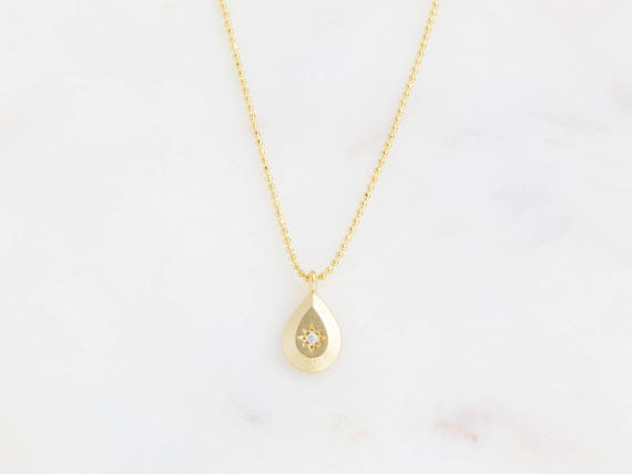 Tiny Gold Drop Necklace | Tiny Gold Drop | Delicate Minimalist Layering | Dainty Teardrop | Bridesmaid Gift | Gift For Her