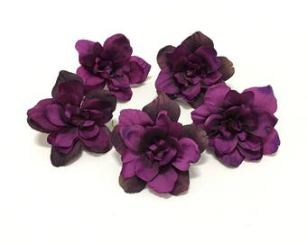 5 Eggplant Purple Delphinium Blossoms - 3 Inches - Artificial Flowers, Silk Flowers, Hair Accessories, Flower Crown, Millinery, DIY Wedding