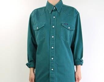 VINTAGE Western Shirt Wrangler Green Cotton Longsleeve