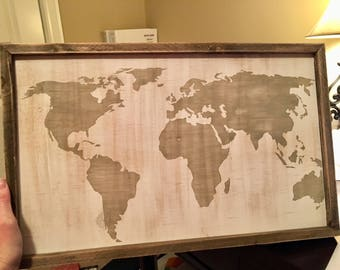 World map framed wooden sign - add your custom word or quote