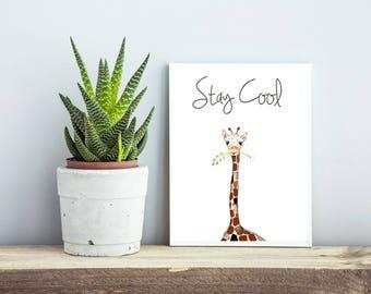 Gender Neutral Nursery, Art Decor For Kids, Gender Neutral Nursery Art, Baby Giraffe, decor for kids, nursery art print, baby room decor