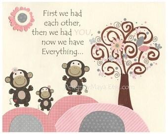 Monkey Nursery, Baby Girl Monkey Room Art, Nursery Wall Art Print, Safari Tree for Girls, Green Pink, Monkey First We Had, Carter's Jungle