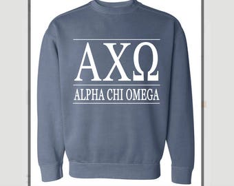 New ALPHA CHI OMEGA Comfort Colors Stripe Crewneck Sweatshirt // Size Small-3XL