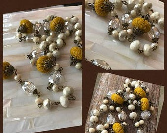 ON SALE New French Boho Beach Gypsy Style carved glass goldenrod alabaster crystal beaded chain