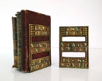 Terra Sancta Guild Bookends / Every Truth / Bronze and Enamel, Israel 1969