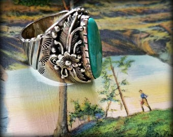 Stunning Asymmetrical Turquoise and Sterling Ring