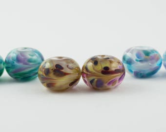 Handmade Lampwork Bead Pair Trio:  Emerald Isle, Casablanca, Cotton Candy