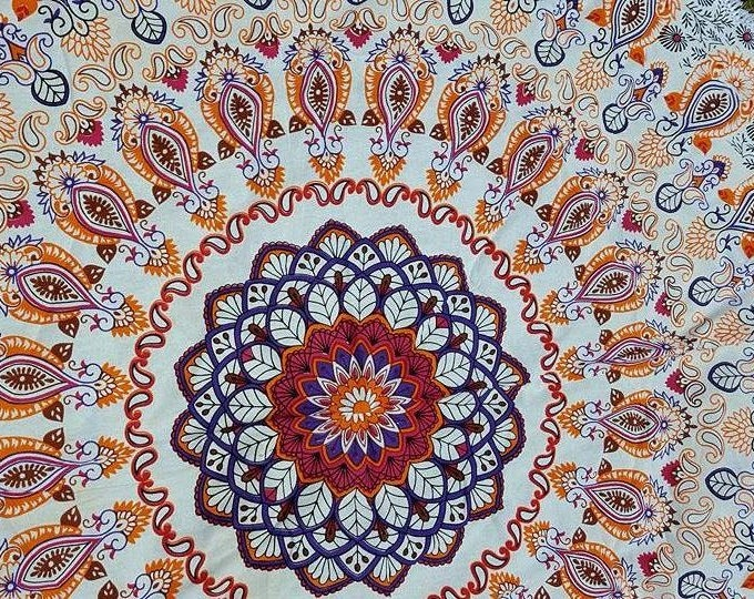 Orange and Red Fall Color Mandala Roundie with White Fringe Tapestry Beach Blanket Yoga Mat Meditation Mat Dorm Decor Hippie Tapestry