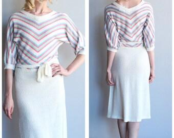 1970s Knit Dress // Pastel Day Knit Dress // vintage 70s knit dress