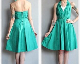 20% Off Sale // 1950s Dress // Palmetto Miami Halter Dress // vintage 50s dress