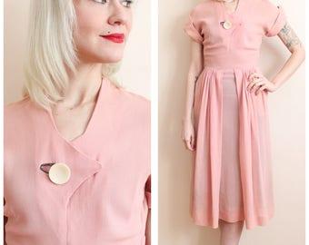 1940s Dress // Pastel Pink Reich Rayon Knit Dress // vintage 40s dress