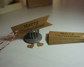 "25/50 Quality Kraft Die Cut Tags ""Merry Christmas"" + Twine ~ *Markets *Homemade *Handmade Gifts"
