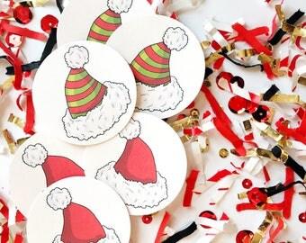 Santa Party Hats, Christmas, Santa, Hat, Holiday, Christmas Party, Kids Party, Confetti, Party, Favors, Christmas Decor, Holiday Class Party