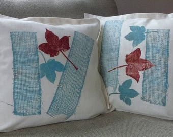 monoprint, set of 2, cushion covers, red leaf, blue leaf, light blue, red, white linen, printmaking, fabric, decorative pillow,