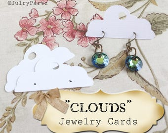 60•1 x 2•CLOUDS•EARRING Cards•Jewelry Cards•Earring Display•Post Earring Card•Hoop Earring Card•Lever Earring Card