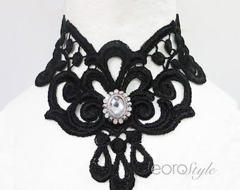 Victorian Choker, Bib lace choker, Black Lace Choker necklace, Goth jewelry, Lace Choker Collar, Lace Choker Gothic, Lace Choker Necklace