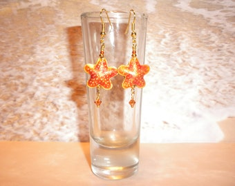 Orange And Gold Cloissone Starfish Earrings