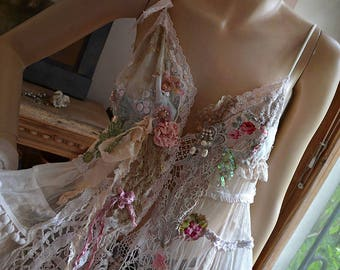 Reserved Unique Lovely Feminine Romantic White Tunic/Jacket  ROSES Of COURSE  Fairy Gipsy Old Doilies Antoinette Boho Tattered