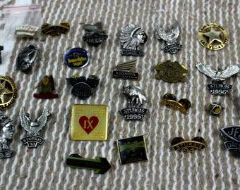 Lot of 30 Vintage Harley Davidson, Sturgis, Christian, Daytona Jacket Vest Pins