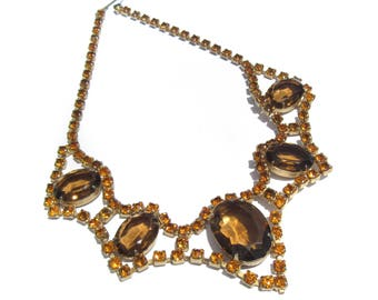Golden Brown Rhinestone Choker Large Faceted Oval Glass with Pointed Drops - Vintage Jewelry