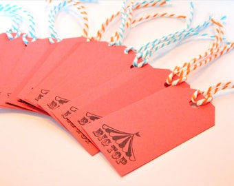 BIG TOP Tags - Qty 12 - Small Tag - 1 5/8 x 3 1/4 inches - Favor tag - Circus birthday - Circus party - Boys Birthday - red gift tags