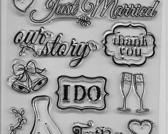 Forever In Time Clear Acrylic Stamp Set  --  NEW -- Wedding Bliss (#2400)